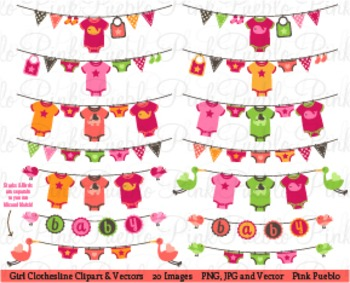 Baby Girl Clothesline and Bunting Clip Art - Commercial Use
