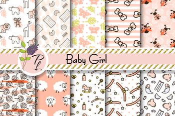Baby Girl Cute Patterns Seamless Pattern Set. Digital paper pack.