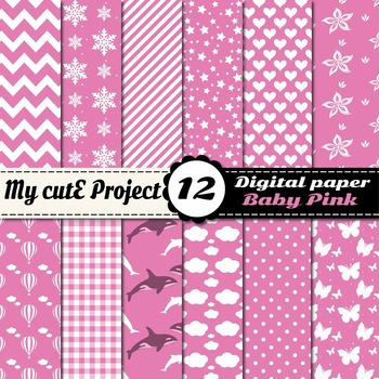 Baby Girl Digital paper - fish, hot air balloon, snowflakes, cloud, butterfly...