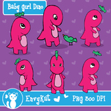 Baby Girl Dino Digital Illustration Clipart, B&W images included!