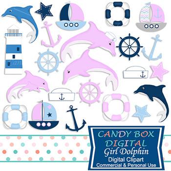 Baby Girl Dolphin Nautical Clip Art - Commercial Use OK