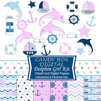 Baby Girl Dolphin Nautical Clip Art and Digital Papers Kit