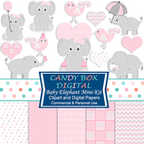 Girl Baby Elephant Clipart and Digital Paper