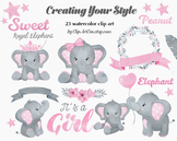 Baby Girl Elephant Pink Grey Clipart Collection, Royal Ele