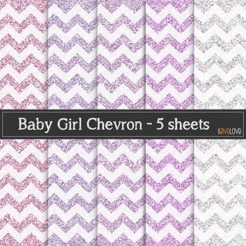 Baby Girl Glitter Chevron
