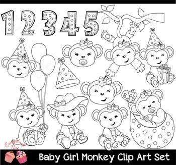 Baby Girl Gray Monkey Clip Art Set
