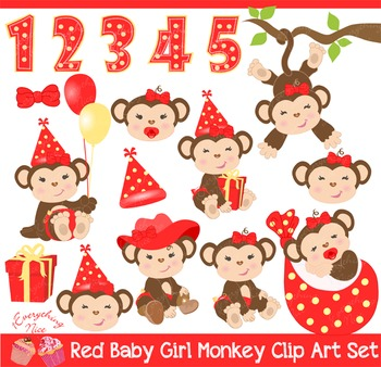 Baby Girl Monkey in Red and Yellow Clip Art Set
