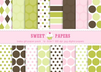 Baby Girl Pink Chartreuse Brown Polkadot Digital Paper Pack - by Sweet Papers
