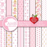 Baby Girl Shower Digital Papers, Baby Nursery Backgrounds, AMB-1436