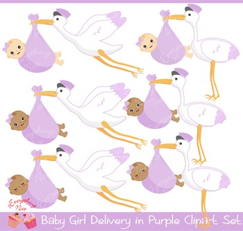 Baby Girl Stork Delivery in Purple Clipart Set