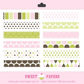 Baby Girl Washi Tape Digital Clip Art Set - by Sweet Papers