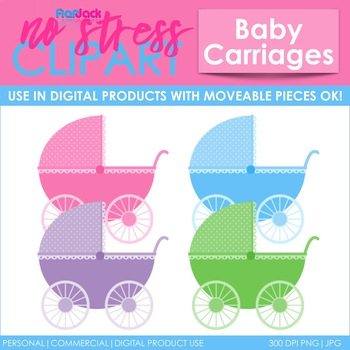 Baby Carriages Clip Art (Digital Use Ok!)