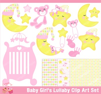Baby Girl's Lullaby Clipart Set