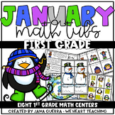 January Math Centers: FIRST GRADE (winter-themed)