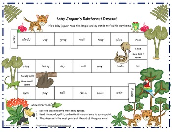 Baby Jaguar's Rainforest Rescue!  Long ai and ay Word Game RF.1.3, RF.2.3