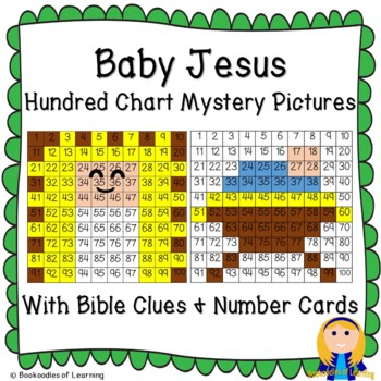 Baby Jesus Christmas Hundred Chart Mystery Pictures, Bible Clues & Number Cards