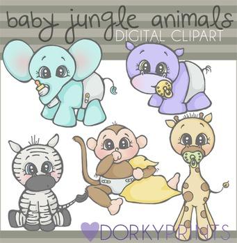 Baby Jungle Animals Digital Clip Art