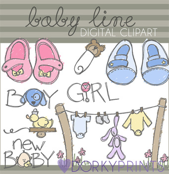 Baby Line Digital Clip Art - Baby Clothes and Booties