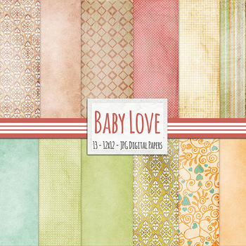 Baby Love Digital Papers, Lightly textured backgrounds with vintage patterns