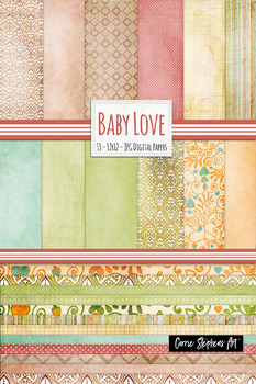 Pastel Digital Papers: Textured Backgrounds, Vintage Patterns, Pink and Peach
