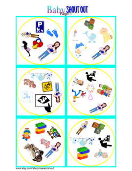 """Baby Matching Game Shout Out; 31 3"""" cards, infant vocabulary, Spot the Match"""