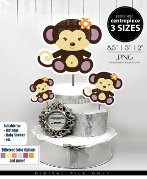 Baby Monkey Centerpiece, Cake Topper, Clip Art Decoration in Brown & Purple