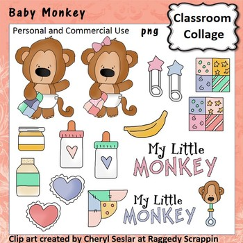 Baby Monkey Clip Art personal & commercial use C. Seslar