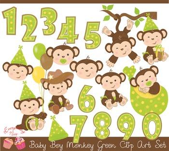 Baby Monkey Green Clipart Set