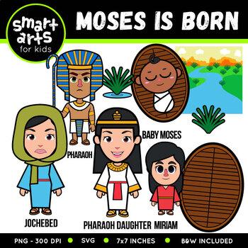 Baby Moses and Burning Bush Clipart
