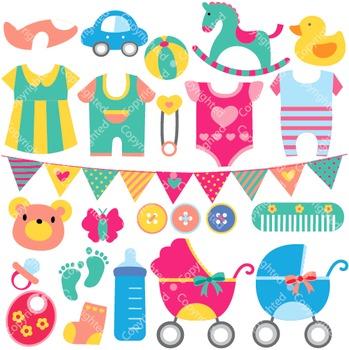 Baby Objects Digital Clip Art (ED)
