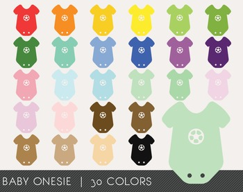 Baby Onesie Digital Clipart, Baby Onesie Graphics, Baby On
