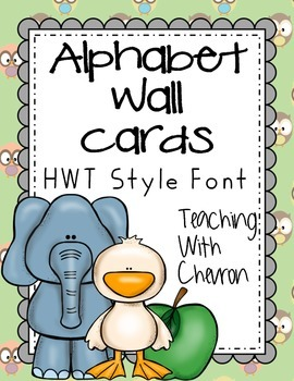 Baby Owl HWT Style Alphabet Wall Cards - green, brown, beige