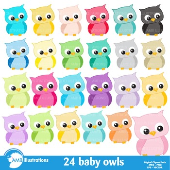 Baby Owl clipart, Pastel Owlettes Clipart AMB-973