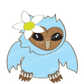 Baby Barn Owls Clip Art - Cute Colorful Bird Clipart - Avian