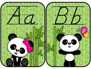 Baby Panda Theme D'Nealian Alphabet Line