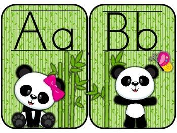Baby Panda Theme Manuscript Alphabet Line