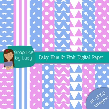 Baby Pink & Baby Blue Digital Paper 16 JPEG Images {Personal & Commercial Use}