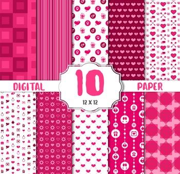 Baby Pink Digital Paper, Light Pink Scrapbook Paper Set