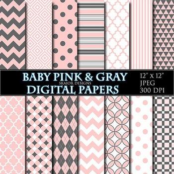Baby Pink Digital Papers Gray Papers Geometric Scrapbooking Printable Grey
