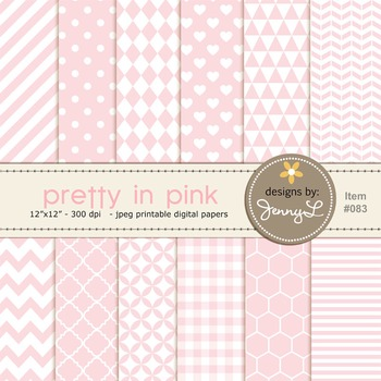 Baby Pink Digital Papers, Light Pink