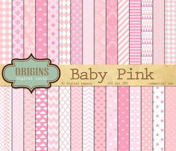 Baby Pink Patterns Digital Scrapbook Paper backgrounds girl baby shower