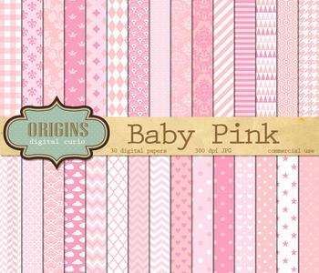 Baby Pink Patterns Digital Scrapbook Paper backgrounds gir