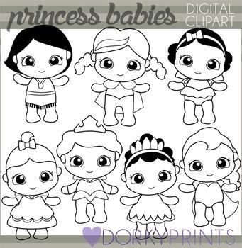 Baby Princess Black Line Clip Art