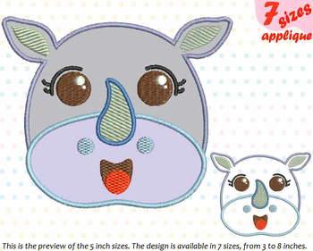 Baby Rhino Applique Designs for Embroidery outline cartoon cute Emoji kawaii 10a