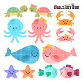 Baby Sea Animals Clip Art - Great for Art Class Projects!