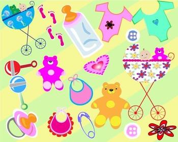 Baby Set Clipart ,baby stroller, teddy bear,bib shirt button ,pregnant mom -07-