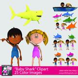 Baby Shark Dance Clipart for Teachers - Kids and Shark Clip Art Set 2