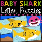 Baby Shark Capital and Lowercase Letter Matching Puzzle Cards