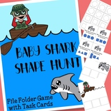 Baby Shark Shapes File Folder Game with Task Cards
