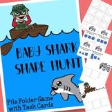 Baby Shark Shapes File Folder Game with Task Cards